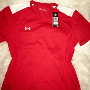 Under Armour Red men's V neck short sleeve XXL